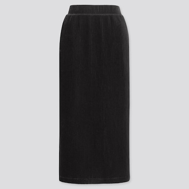 WOMEN CORDUROY LONG NARROW SKIRT, BLACK, medium