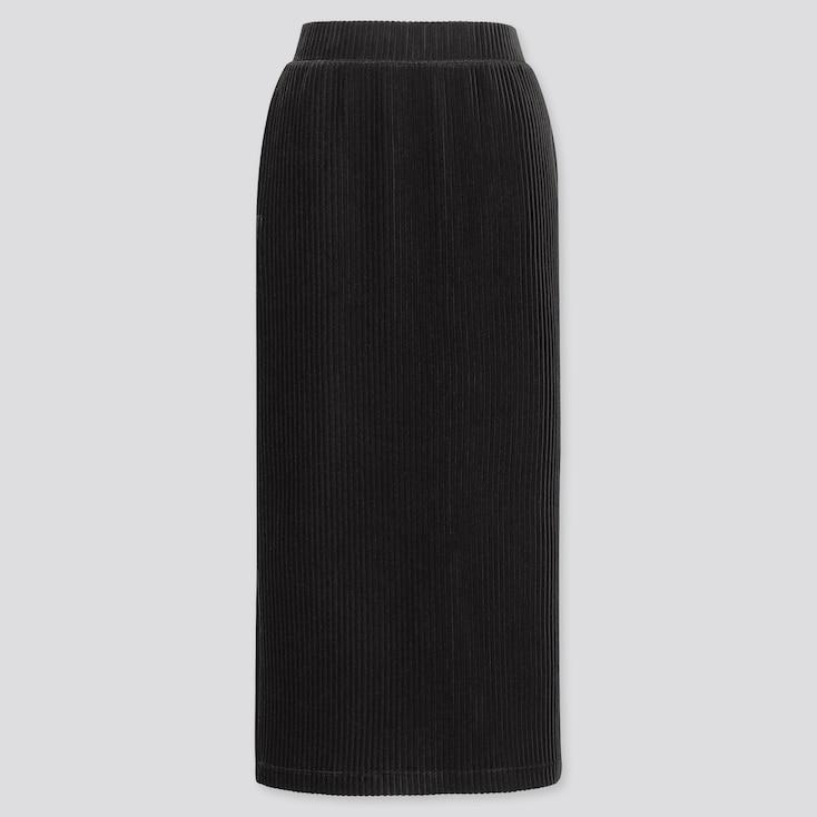 WOMEN CORDUROY LONG NARROW SKIRT, BLACK, large