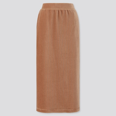WOMEN CORDUROY LONG NARROW SKIRT, BEIGE, medium