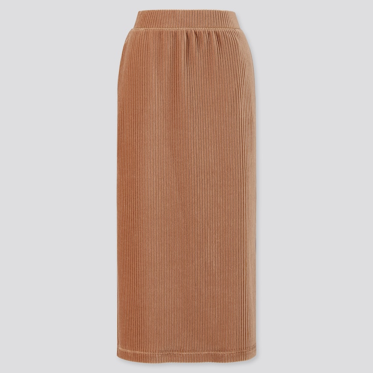 Women Corduroy Long Narrow Skirt, Beige, Large