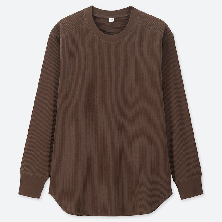 WOMEN COTTON RIBBED CREW NECK LONG-SLEEVE T-SHIRT, BROWN, large