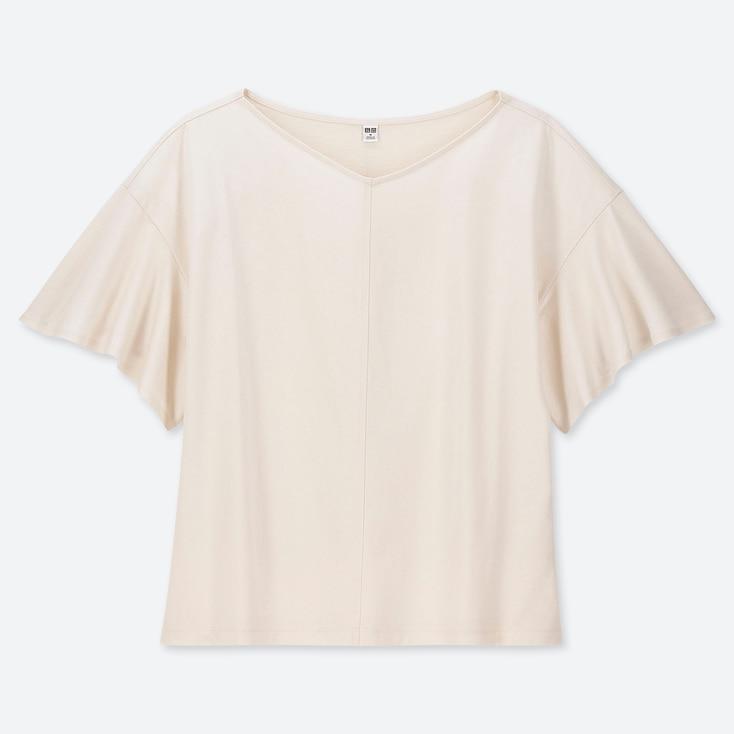 WOMEN SHINY COTTON V-NECK FLARE SHORT-SLEEVE T-SHIRT, OFF WHITE, large