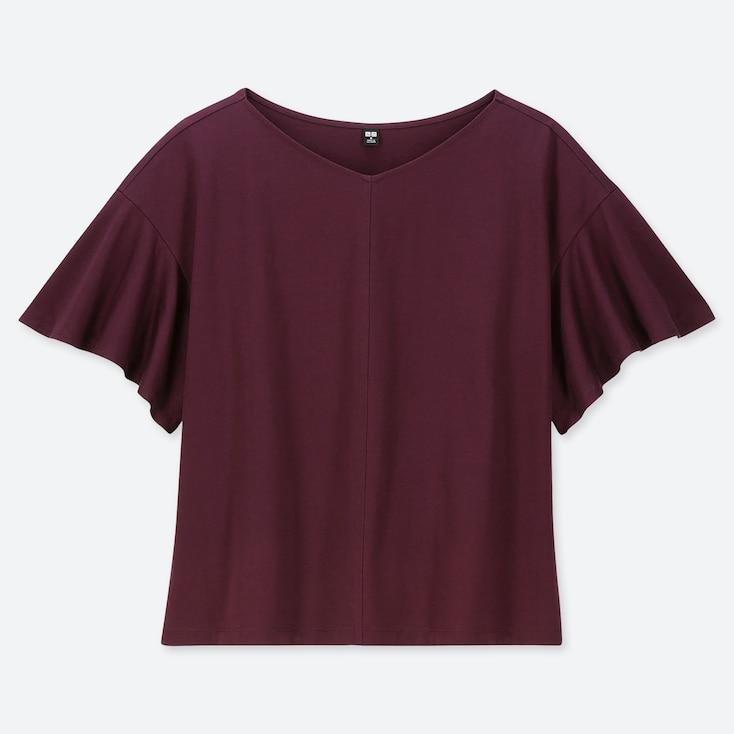 WOMEN SHINY COTTON V-NECK FLARE SHORT-SLEEVE T-SHIRT, WINE, large
