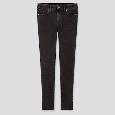 WOMEN DAMAGED ULTRA STRETCH JEANS, DARK GRAY, medium