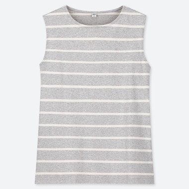 WOMEN STRIPED CREW NECK SLEEVELESS TOP