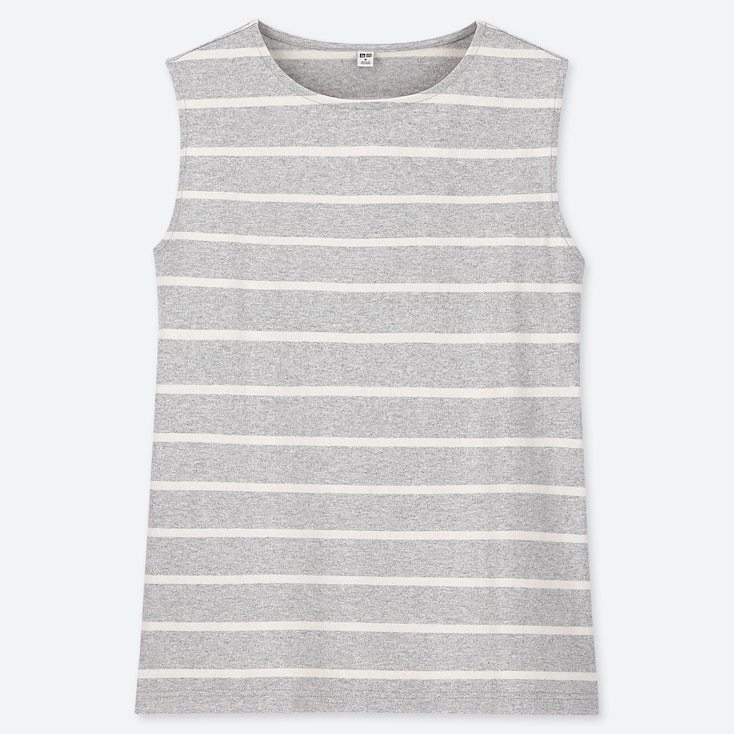 WOMEN STRIPED SLEEVELESS T-SHIRT, GRAY, large