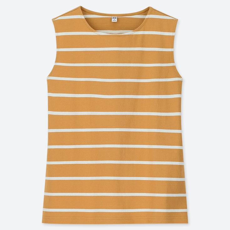WOMEN STRIPED SLEEVELESS T-SHIRT, YELLOW, large