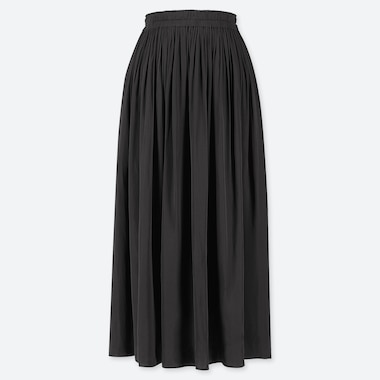 WOMEN GATHERED SKIRT, BLACK, medium