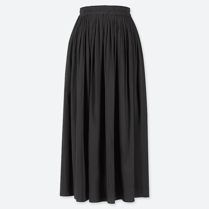 WOMEN GATHERED SKIRT, BLACK, large