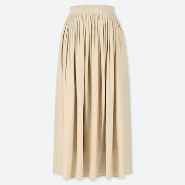 WOMEN GATHERED SKIRT, NATURAL, medium