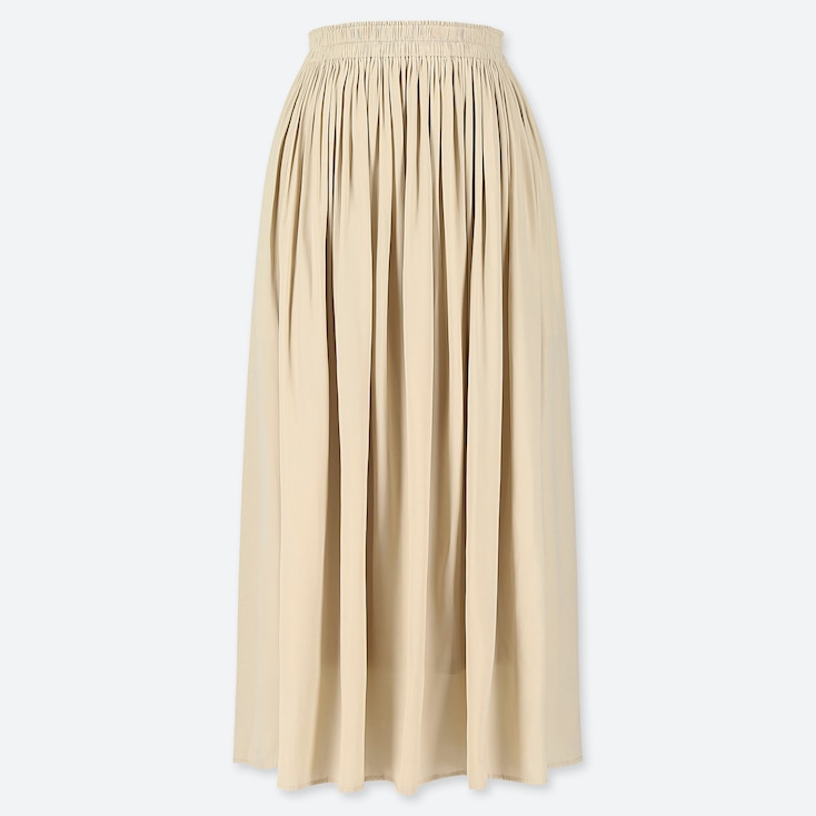 WOMEN GATHERED SKIRT, NATURAL, large