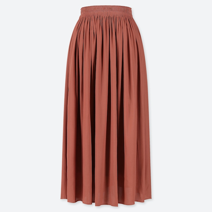 WOMEN GATHERED SKIRT, BROWN, large
