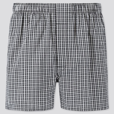 MEN WOVEN CHECKED BOXERS, BLACK, medium