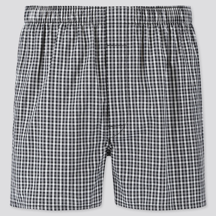 MEN WOVEN CHECKED BOXERS, BLACK, large