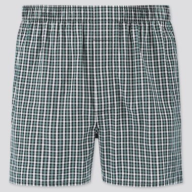 MEN WOVEN CHECKED BOXERS, GREEN, medium