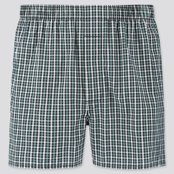 MEN WOVEN CHECKED BOXERS, GREEN, large