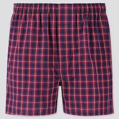 Men Woven Checked Boxers, Wine, Medium