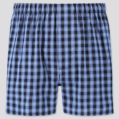 MEN WOVEN CHECKED BOXERS, BLUE, medium