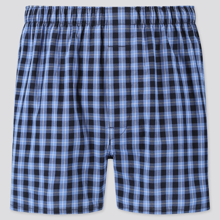 MEN WOVEN CHECKED BOXERS, BLUE, large