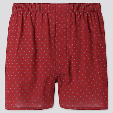 MEN WOVEN PRINTED BOXERS, RED, medium