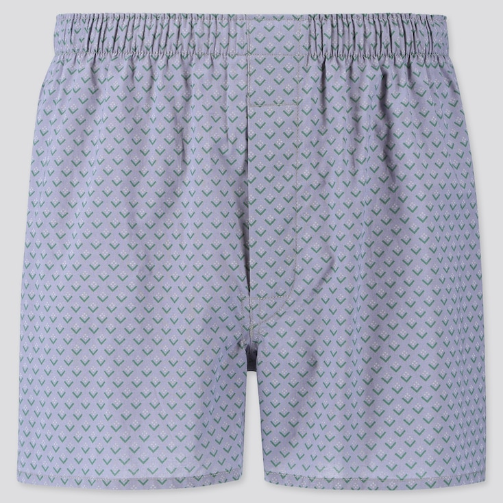 MEN WOVEN PRINTED BOXERS, GRAY, large