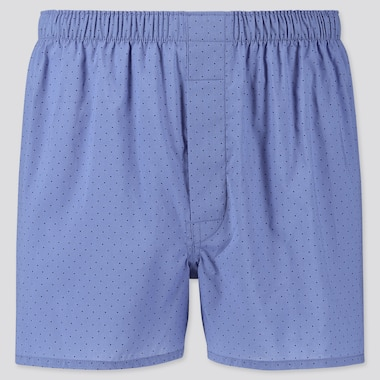 MEN WOVEN PRINTED BOXERS, BLUE, medium