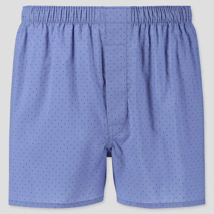 MEN WOVEN PRINTED BOXERS, BLUE, large