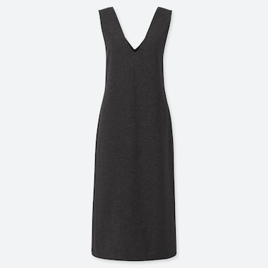 WOMEN KNITTED V NECK SLEEVELESS DRESS
