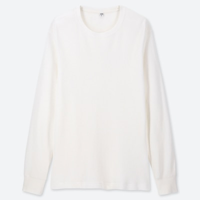 Men Waffle Crew Neck Long Sleeved T Shirt  (11) by Uniqlo