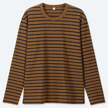 MEN WASHED STRIPED LONG-SLEEVE T-SHIRT, YELLOW, medium
