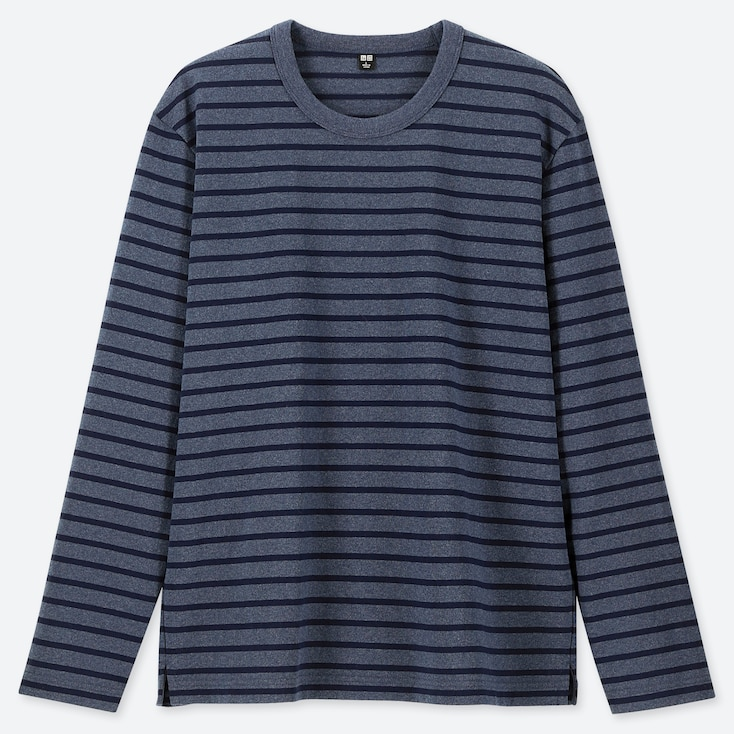 MEN WASHED STRIPED LONG-SLEEVE T-SHIRT, BLUE, large