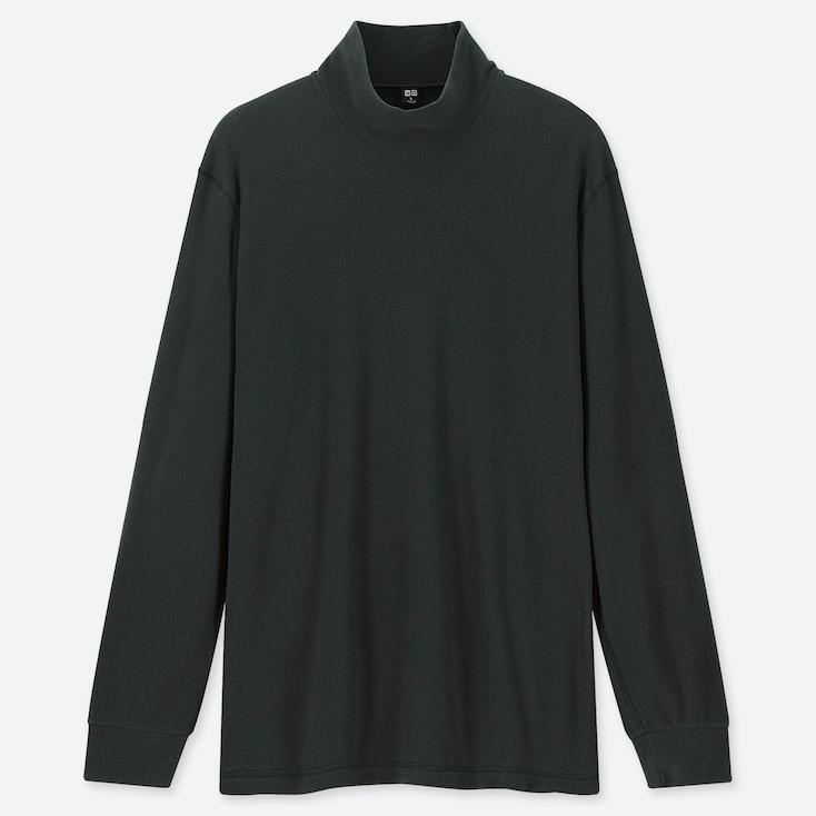 MEN HEATTECH STRETCH FLEECE MOCK NECK LONG-SLEEVE T-SHIRT, DARK GREEN, large