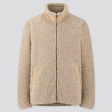 MEN PILE-LINED FLEECE JACKET, BEIGE, medium