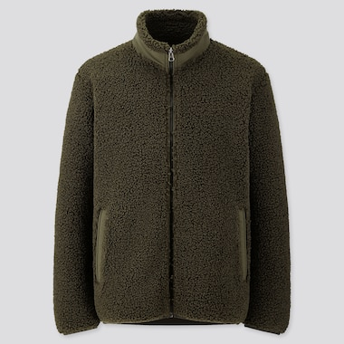 MEN PILE-LINED FLEECE JACKET, DARK GREEN, medium