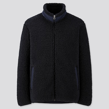 MEN PILE-LINED FLEECE JACKET, NAVY, medium