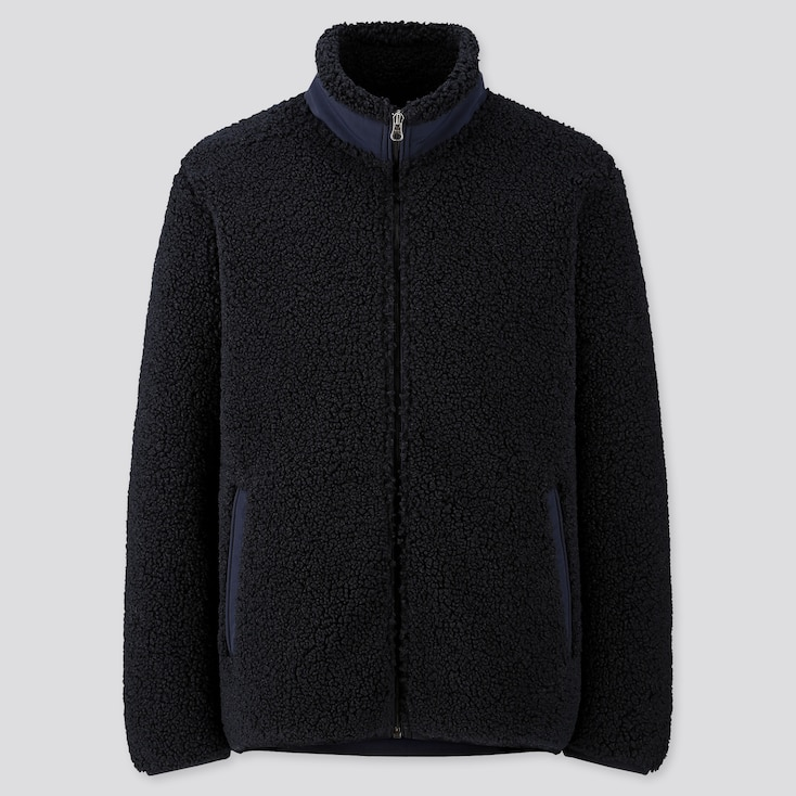 MEN PILE-LINED FLEECE JACKET, NAVY, large
