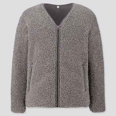 MEN PILE-LINED FLEECE CARDIGAN, GRAY, medium