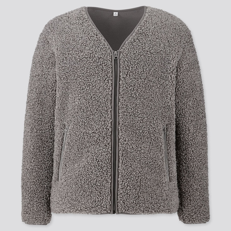 MEN PILE-LINED FLEECE CARDIGAN, GRAY, large