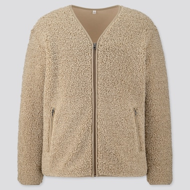 Men Pile-Lined Fleece Cardigan, Beige, Medium