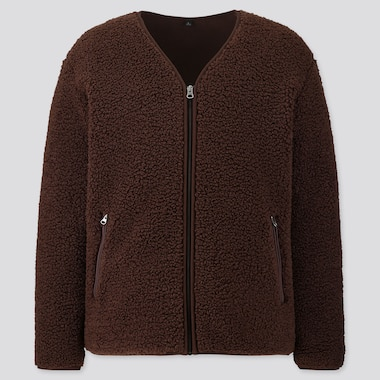 Men Pile-Lined Fleece Cardigan, Brown, Medium