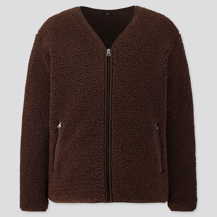 MEN PILE-LINED FLEECE CARDIGAN