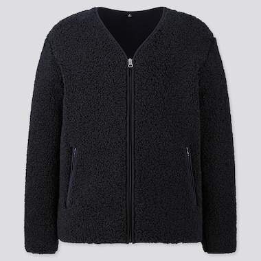 MEN PILE-LINED FLEECE CARDIGAN, NAVY, medium