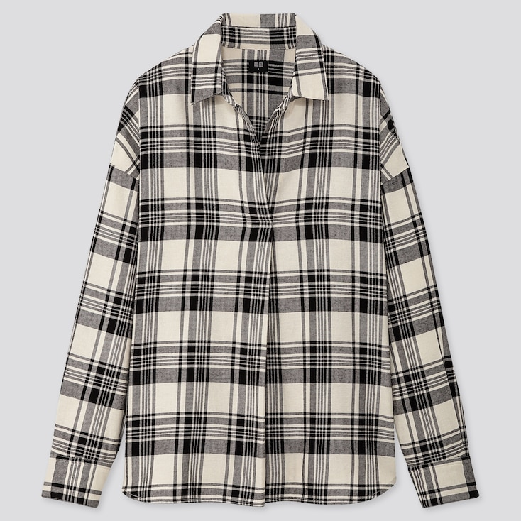 WOMEN FLANNEL CHECKED SKIPPER COLLAR LONG-SLEEVE SHIRT, OFF WHITE, large