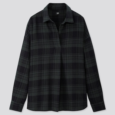 WOMEN FLANNEL CHECKED SKIPPER COLLAR LONG-SLEEVE SHIRT, DARK GREEN, medium