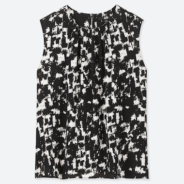 WOMEN PRINTED SLEEVELESS BLOUSE, WHITE, medium