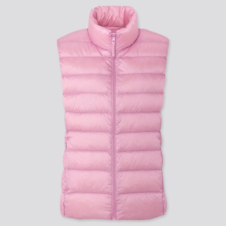 Women Ultra Light Down Vest, Pink, Large