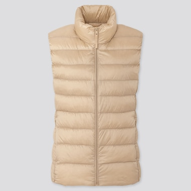 Women Ultra Light Down Vest, Natural, Medium