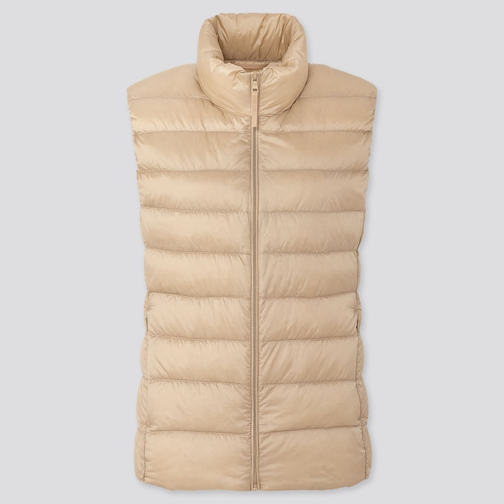 Women Ultra Light Down Vest, Natural, Large