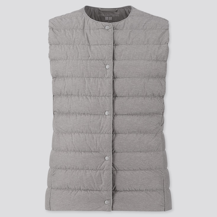 Women Ultra Light Down Compact Vest, Gray, Large
