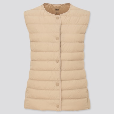 Women Ultra Light Down Compact Vest, Natural, Medium